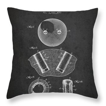 1912 Bowling Ball Patent - Charcoal Throw Pillow
