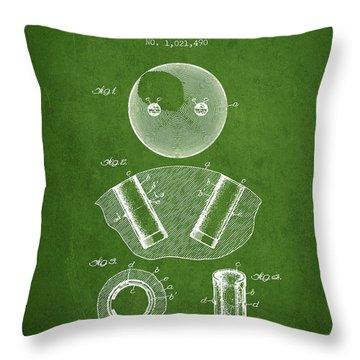 1912 Bowling Ball Patent - Green Throw Pillow