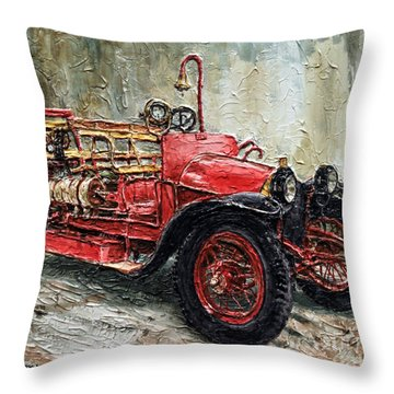 1912 Porsche Fire Truck Throw Pillow
