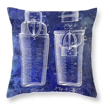 1913 Cocktail Shaker Patent Blue Throw Pillow
