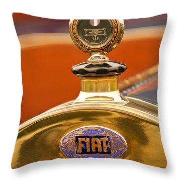 1913 Fiat Type 56 7 Passenger Touring Hood Ornament Throw Pillow by Jill Reger