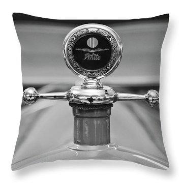 1913 White Gentlemans's Roadster Hood Ornament 2 Throw Pillow by Jill Reger