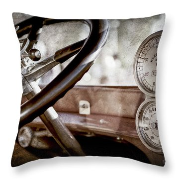 Throw Pillow featuring the photograph 1914 Rolls-royce 40 50 Silver Ghost Landaulette Steering Wheel -0795ac by Jill Reger