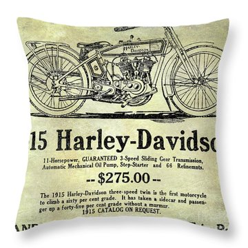 1915 Harley Davidson Advertisement Throw Pillow by Jon Neidert