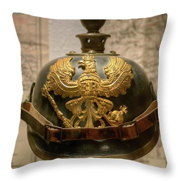 1915 Prussian Artillery Spiked Pickelhaube Helmut Throw Pillow