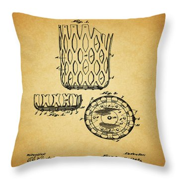 Throw Pillow featuring the mixed media 1916 Pool Table Pocket Patent by Dan Sproul