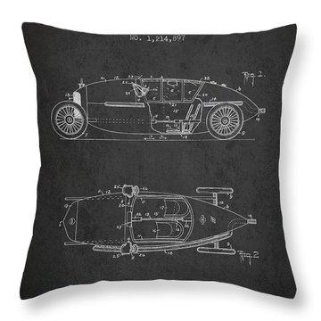 1917 Racing Vehicle Patent - Charcoal Throw Pillow