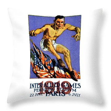 1919 Allied Games Poster Throw Pillow by Historic Image