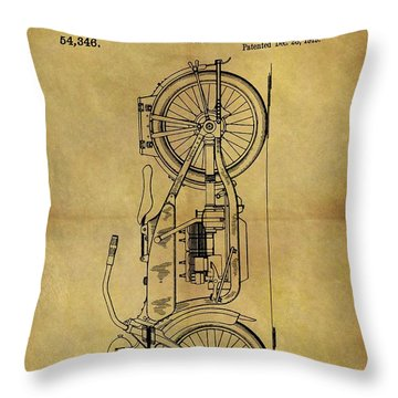 1919 Motorcycle Patent Throw Pillow