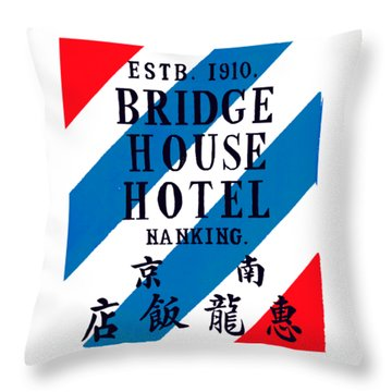 Throw Pillow featuring the painting 1920 Bridge House Hotel Nanking China by Historic Image