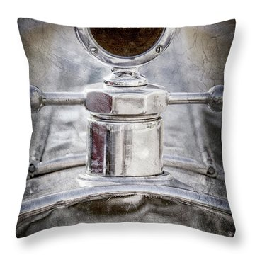 Throw Pillow featuring the photograph 1920 Pierce-arrow Model 48 Coupe Hood Ornament -2829ac by Jill Reger