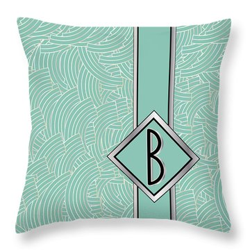 1920s Blue Deco Jazz Swing Monogram ...letter B Throw Pillow