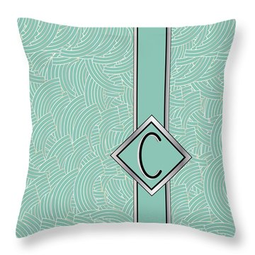 1920s Blue Deco Jazz Swing Monogram ...letter C Throw Pillow