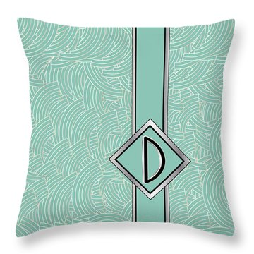 1920s Blue Deco Jazz Swing Monogram ...letter D Throw Pillow
