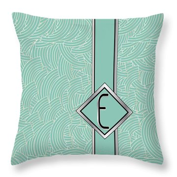 1920s Blue Deco Jazz Swing Monogram ...letter E Throw Pillow