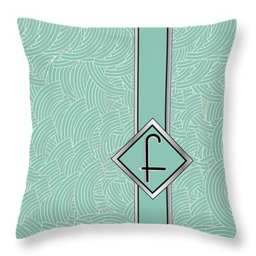 1920s Blue Deco Jazz Swing Monogram ...letter F Throw Pillow