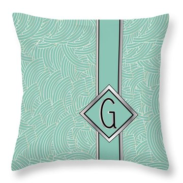 1920s Blue Deco Jazz Swing Monogram ...letter G Throw Pillow