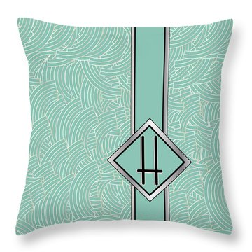 1920s Blue Deco Jazz Swing Monogram ...letter H Throw Pillow