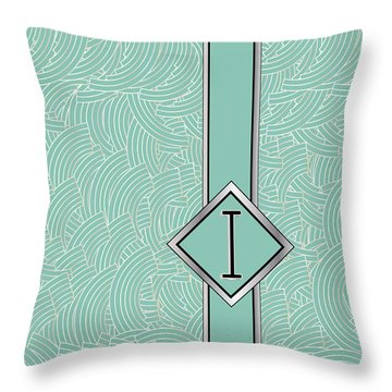 1920s Blue Deco Jazz Swing Monogram ...letter I Throw Pillow
