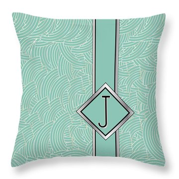 1920s Blue Deco Jazz Swing Monogram ...letter J Throw Pillow