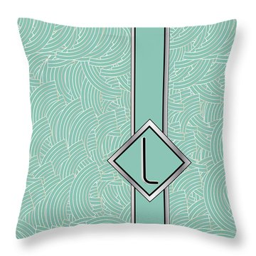 1920s Blue Deco Jazz Swing Monogram ...letter L Throw Pillow