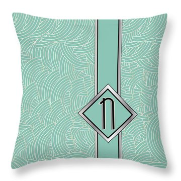 1920s Blue Deco Jazz Swing Monogram ...letter N Throw Pillow