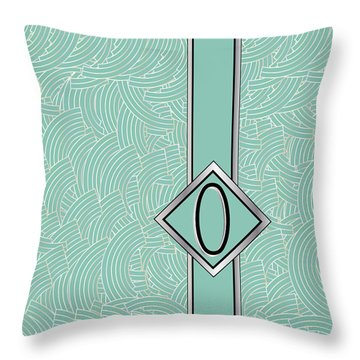 1920s Blue Deco Jazz Swing Monogram ...letter O Throw Pillow