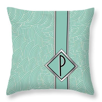 1920s Blue Deco Jazz Swing Monogram ...letter P Throw Pillow
