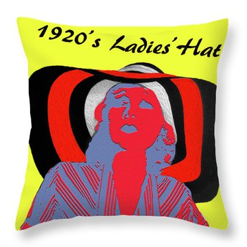 1920s Ladies Hat Throw Pillow by Bruce Iorio