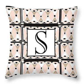 1920s Pink Champagne Deco Monogram  S Throw Pillow