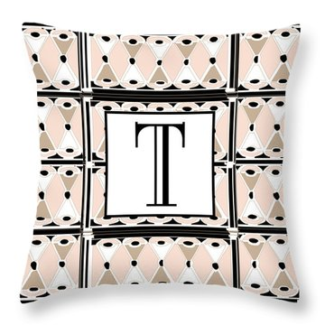 1920s Pink Champagne Deco Monogram  T Throw Pillow