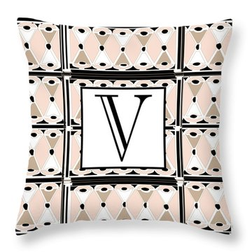 1920s Pink Champagne Deco Monogram  V Throw Pillow