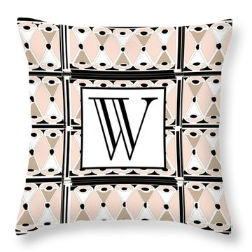 1920s Pink Champagne Deco Monogram  W Throw Pillow