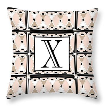 1920s Pink Champagne Deco Monogram  X Throw Pillow