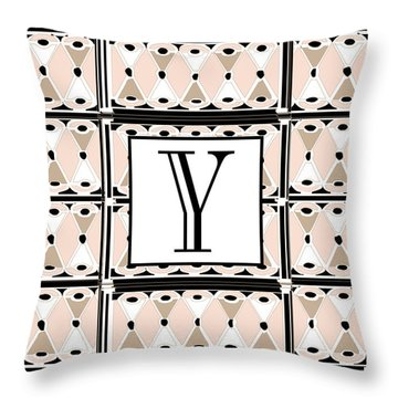 1920s Pink Champagne Deco  Monogram  Y Throw Pillow