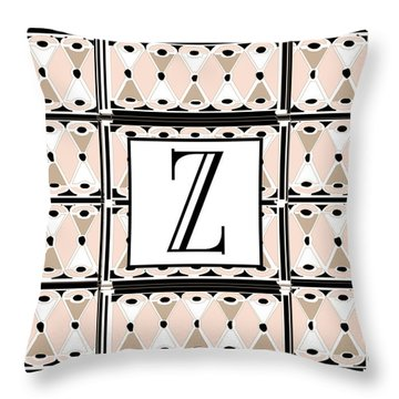 1920s Pink Champagne Deco Monogram  Z Throw Pillow