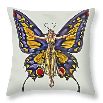 1922 Flapper Butterfly Throw Pillow by Walt Foegelle