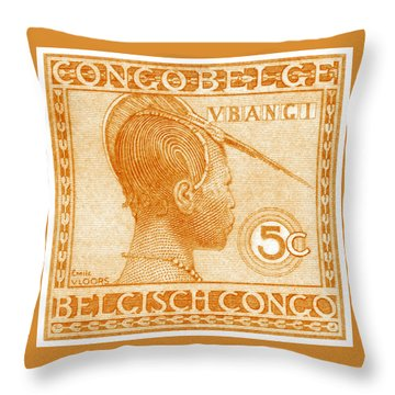 Throw Pillow featuring the painting 1923 Belgian Congo Ubangi Woman by Historic Image