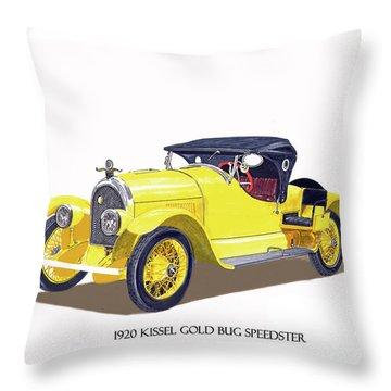 Throw Pillow featuring the painting 1923 Kissel Kar  Gold Bug Speedster by Jack Pumphrey