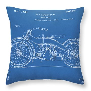 Throw Pillow featuring the digital art 1924 Harley Motorcycle Patent Artwork Blueprint by Nikki Marie Smith