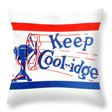 1924  Keep Coolidge Poster Throw Pillow