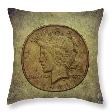Throw Pillow featuring the digital art 1924 Peace Silver Dollar by Randy Steele
