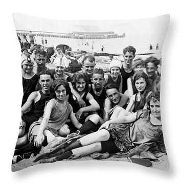 1925 Beach Party Throw Pillow by Historic Image
