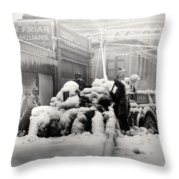 1925 Boston Fire Engine Encased In Ice Throw Pillow