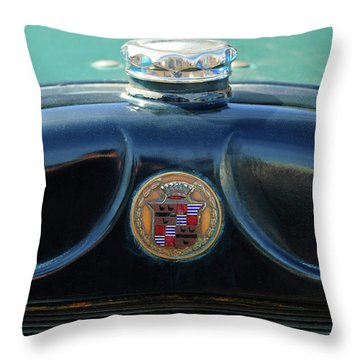 1925 Cadillac Hood Ornament And Emblem Throw Pillow by Jill Reger