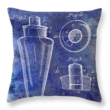 1925 Cocktail Shaker Patent Blue Throw Pillow