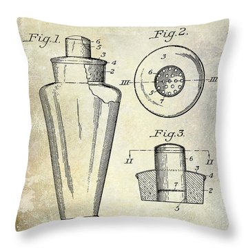 1925 Cocktail Shaker Patent  Throw Pillow