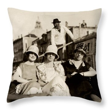 1925 Girlfriends In Venice Italy Throw Pillow by Historic Image