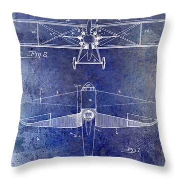 1929 Airplane Patent Blue Throw Pillow