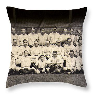 1926 Yankees Team Photo Throw Pillow by Jon Neidert